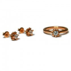 Vee Illusions Set with Rose Gold plating