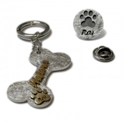 Wow set! Bone Keychain and Footprint Pin
