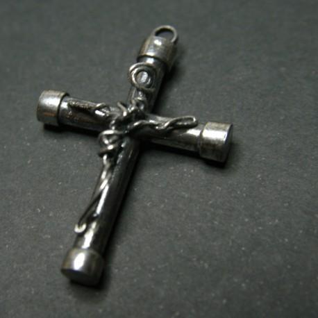 Colgante Cruz y Cristo en plata de ley