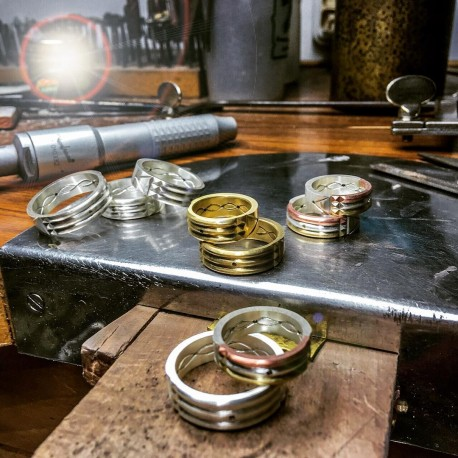 Artisan Atlantean Rings at MeriTomasa's Treasures Factory: silver, three-metal and 18K gold versions