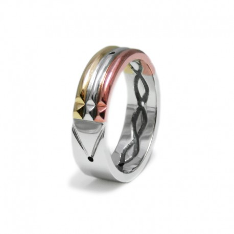 Atlantis Ring in Gold, Silver and Copper