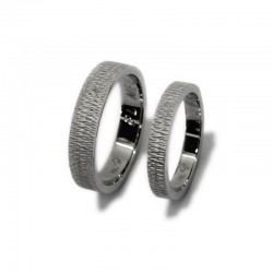 White Gold Hammered Wedding Rings