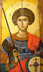 Sant Jordi was a hipster without a beard, but with a mane that made all the ladies fall in love with him. Icon of Saint George (14th century), from a workshop in Constantinople. Athens: Byzantine and Christian museum.
