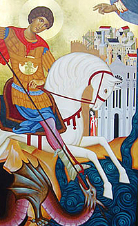 Detail of the icon of Saint George slaying the dragon. Reggio Calabria: Church of San Jorge Mártir.