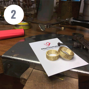 Second step of artisanal manufacturing of the Atlantis gold ring