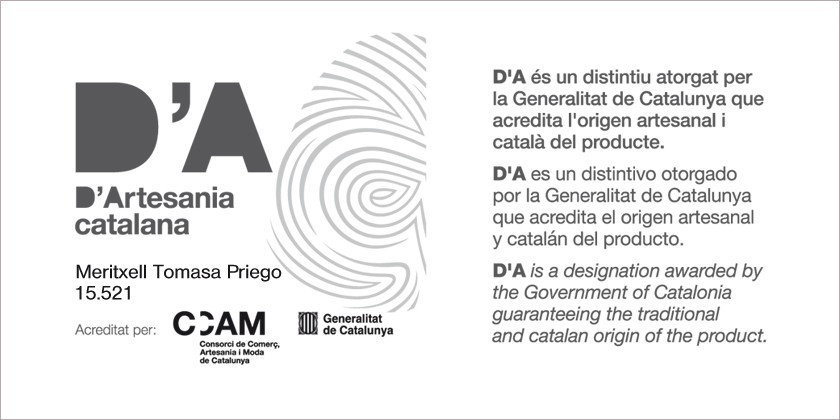 MeriTomasa, accredited with the distinctive handicraft product (D'A) of the Generalitat de Catalunya